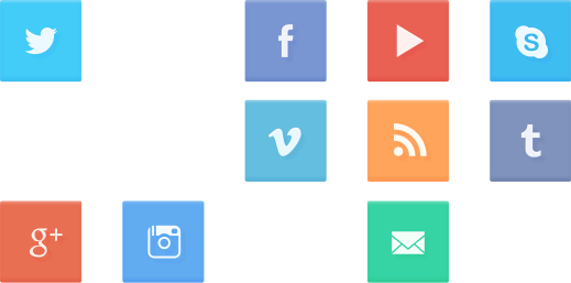 ツイッター・フェイスブック・グーグル+・インスタグラム・ユーチューブ・Vimeo・RSS・メール・スカイプ・タンブラーのアイコン
